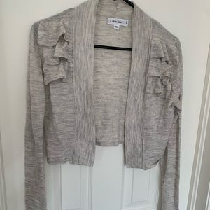 Calvin Klein Grey Ruffle Wool shrug